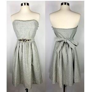 Banana Republic Gray Strapless Dress w/ Jewels